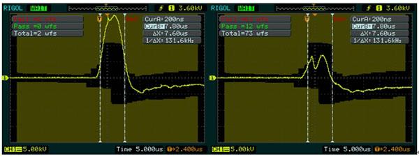 图5 DS1000上正常放电波形。 图6 DS1000上异常放电波形